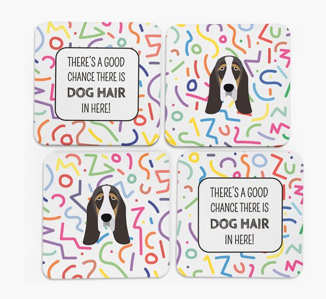 'Chance of Dog Hair' Coasters with Basset Hound icon