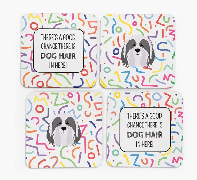 'Chance of Dog Hair' Coasters with Bearded Collie icon