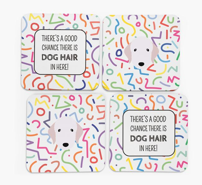 'Chance of Dog Hair' Coasters with Bedlington Terrier icon