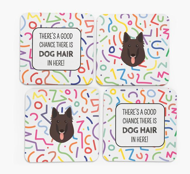 'Chance of Dog Hair' Coasters with Belgian Groenendael icon