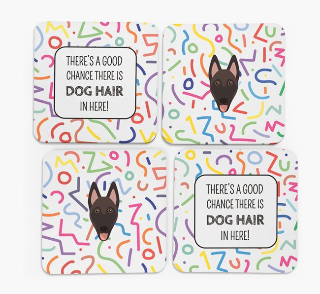 'Chance of Dog Hair' Coasters with Belgian Malinois icon