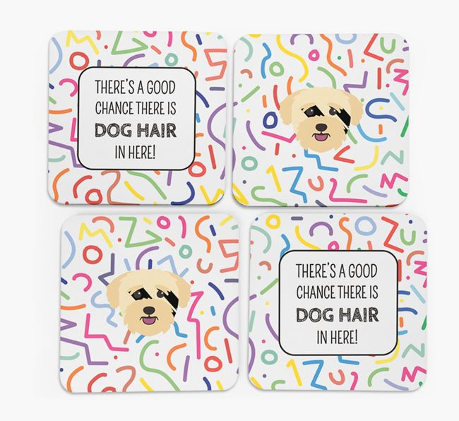 'Chance of Dog Hair' Coasters with Bichon Yorkie icon