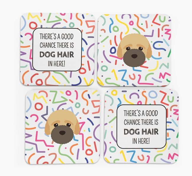 'Chance of Dog Hair' Coasters with Bich-poo icon