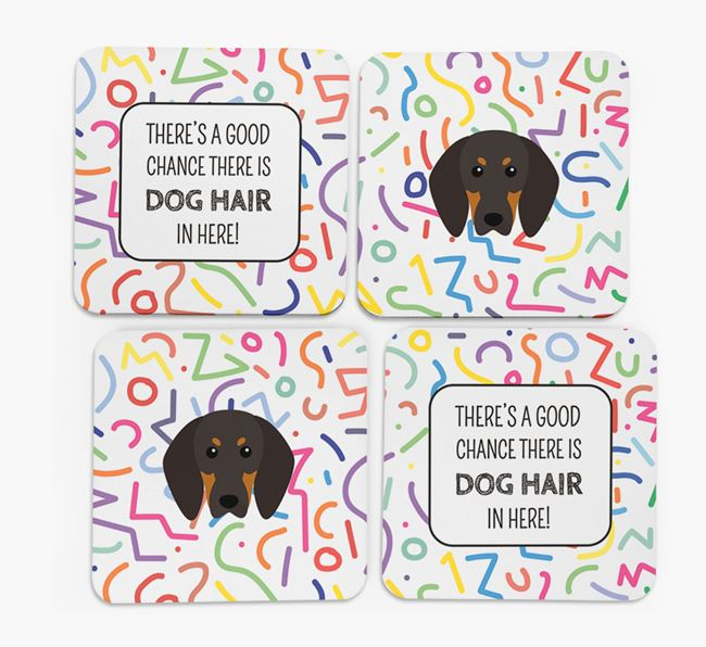 'Chance of Dog Hair' Coasters with Black and Tan Coonhound icon