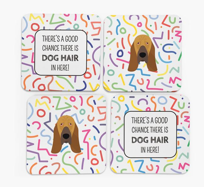 'Chance of Dog Hair' Coasters with Bloodhound icon