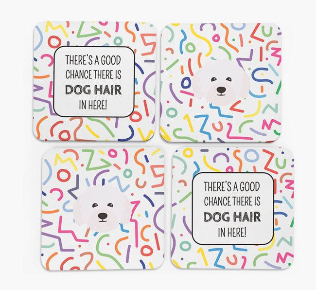 'Chance of Dog Hair' Coasters with Bolognese icon