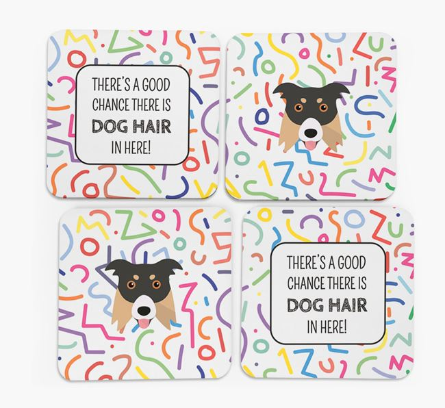'Chance of Dog Hair' Coasters with Border Collie icon
