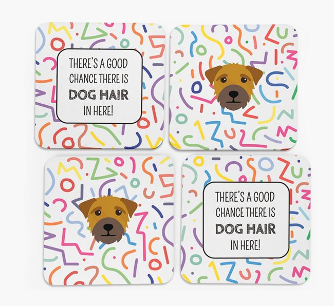 'Chance of Dog Hair' Coasters with Border Terrier icon