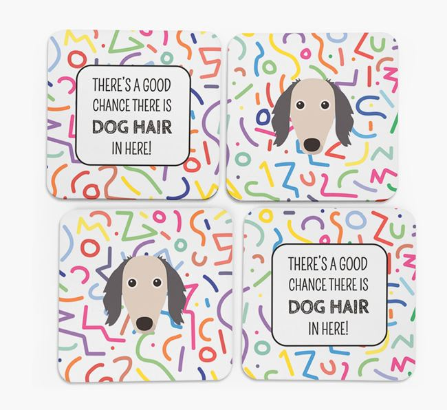 'Chance of Dog Hair' Coasters with Borzoi icon