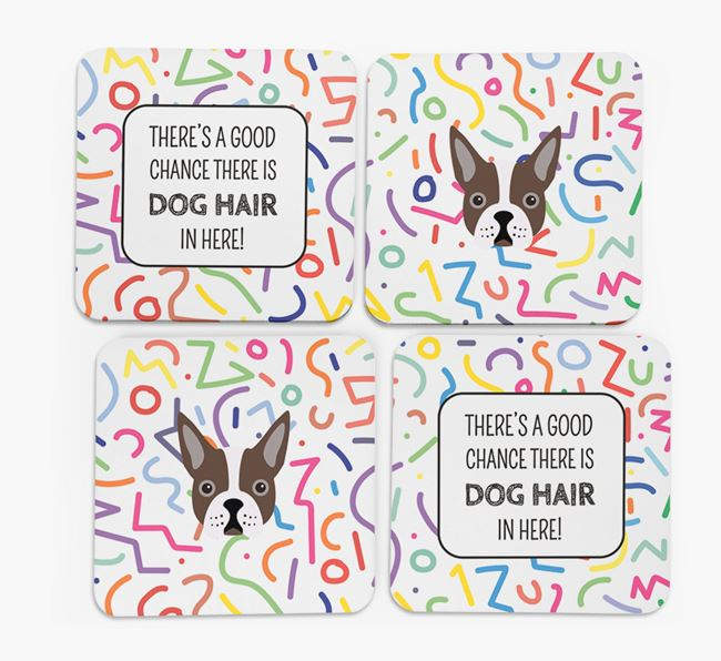 'Chance of Dog Hair' Coasters with Boston Terrier icon