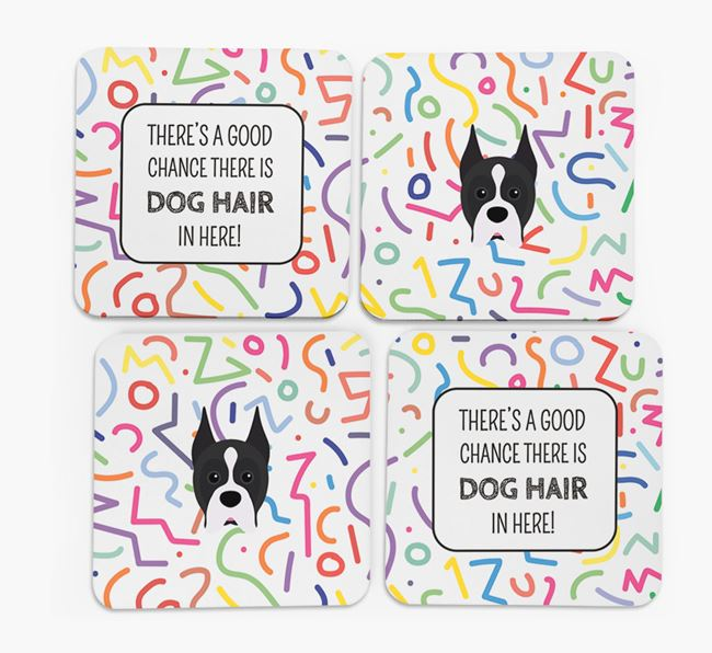 'Chance of Dog Hair' Coasters with Boxer icon