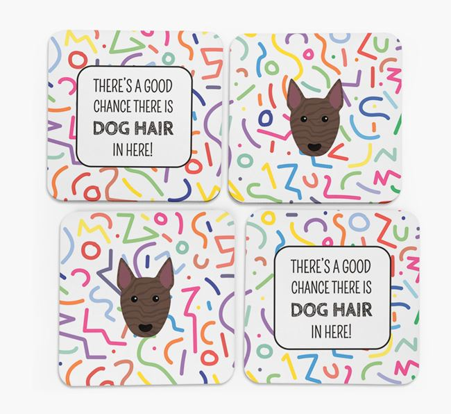 'Chance of Dog Hair' Coasters with Bull Terrier icon