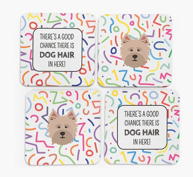 'Chance of Dog Hair' Coasters with Cairn Terrier icon