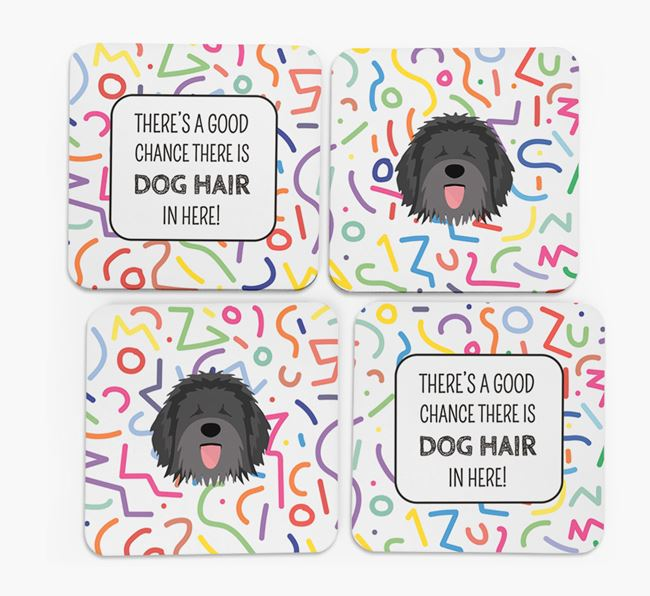 'Chance of Dog Hair' Coasters with Catalan Sheepdog icon