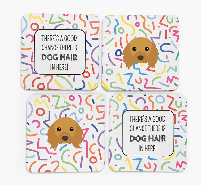 'Chance of Dog Hair' Coasters with Cavalier King Charles Spaniel icon