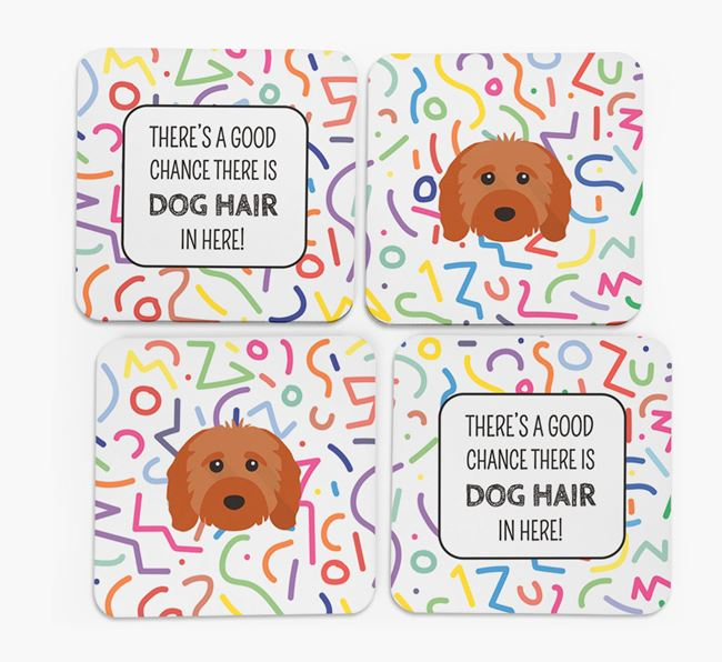 'Chance of Dog Hair' Coasters with Cavapoo icon