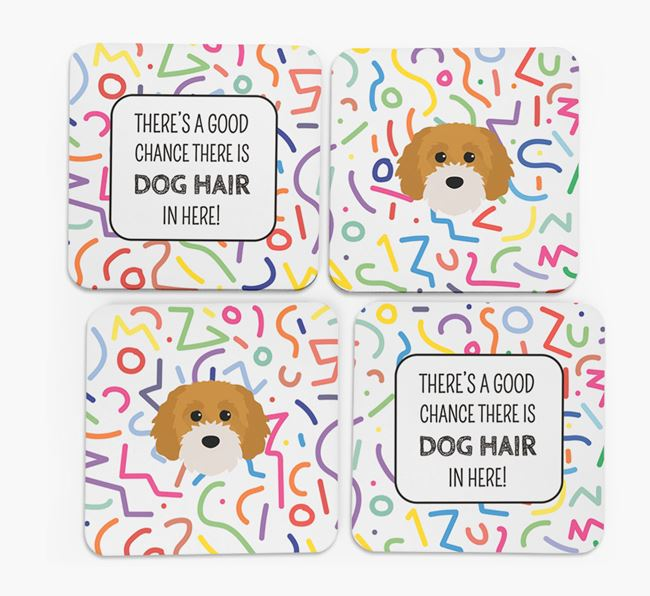 'Chance of Dog Hair' Coasters with Cavapoochon icon