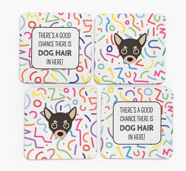 'Chance of Dog Hair' Coasters with Chihuahua icon