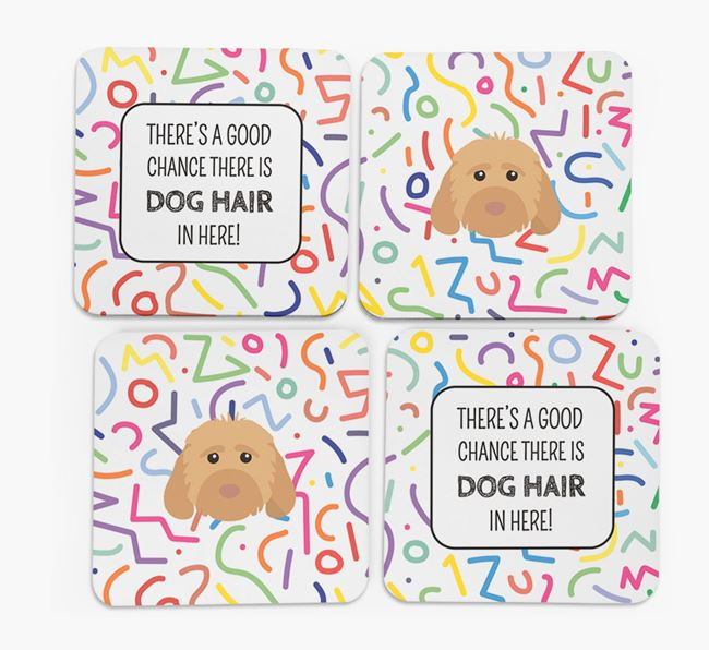 'Chance of Dog Hair' Coasters with Cockapoo icon