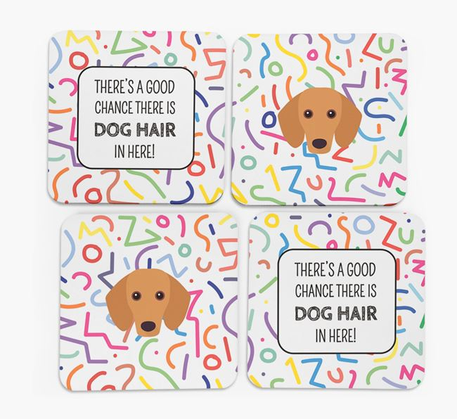 'Chance of Dog Hair' Coasters with Dachshund icon