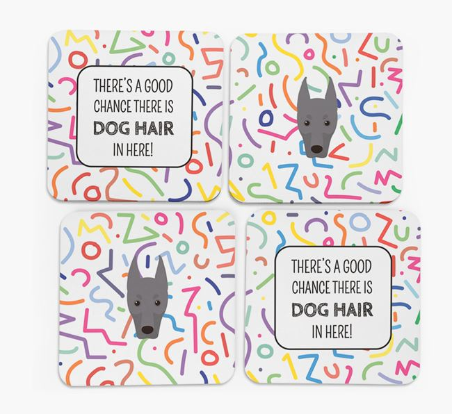 'Chance of Dog Hair' Coasters with Dobermann icon