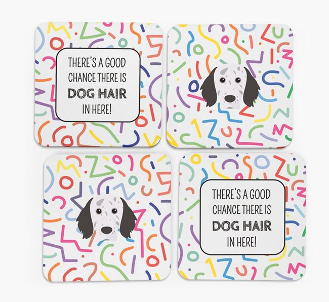 'Chance of Dog Hair' Coasters with English Setter icon