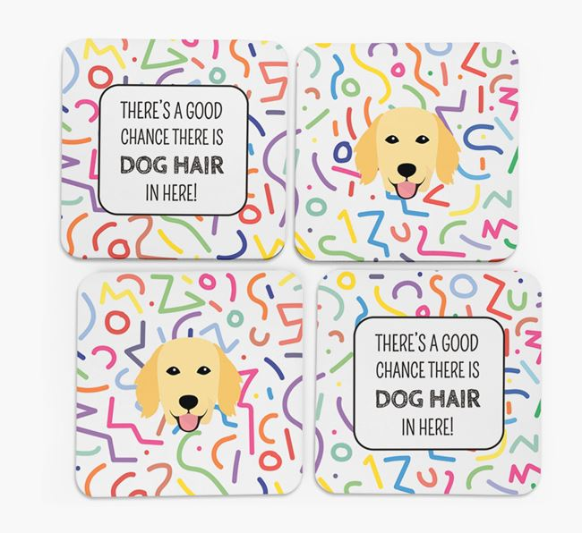 'Chance of Dog Hair' Coasters with Flat-Coated Retriever icon