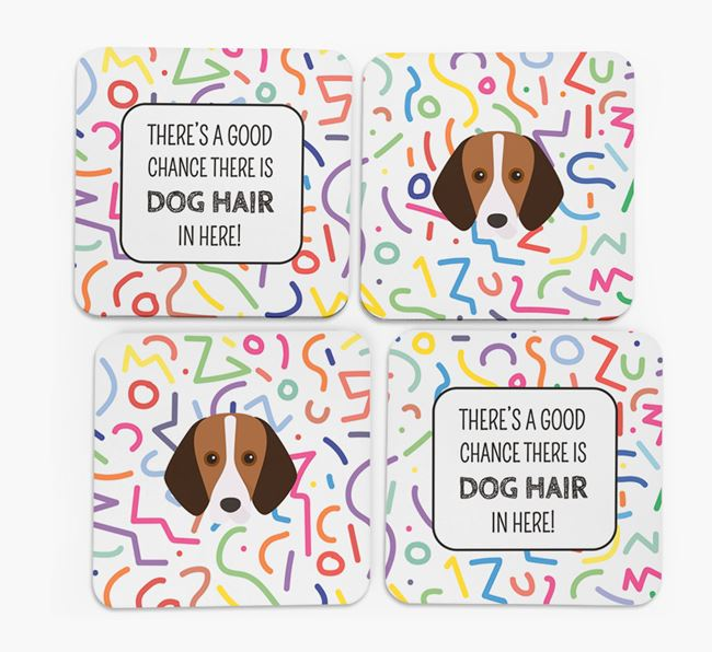 'Chance of Dog Hair' Coasters with Foxhound icon
