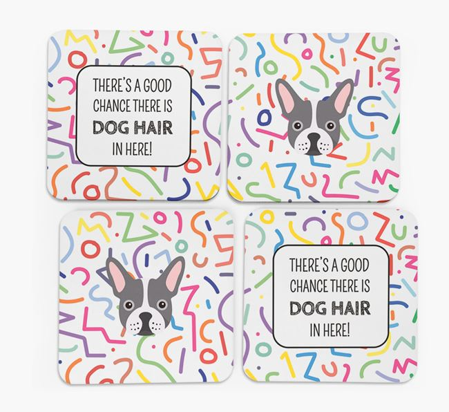 'Chance of Dog Hair' Coasters with French Bulldog icon