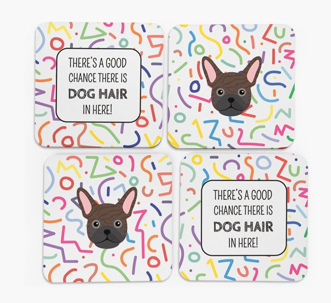 'Chance of Dog Hair' Coasters with Frug icon