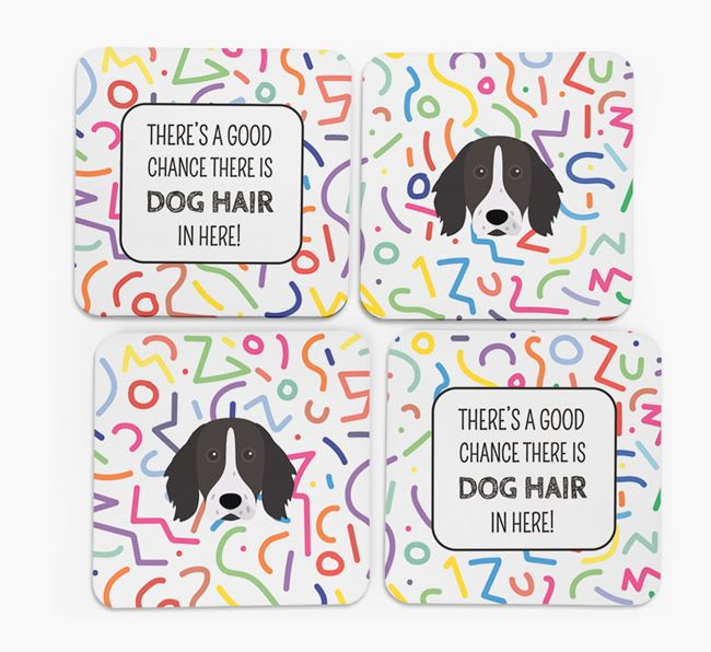 'Chance of Dog Hair' Coasters with German Longhaired Pointer icon