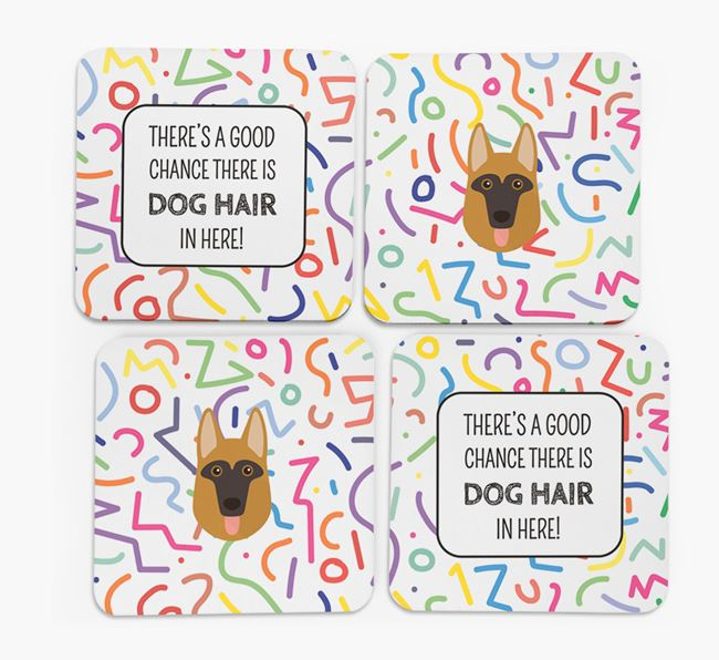 'Chance of Dog Hair' Coasters with Dog icon