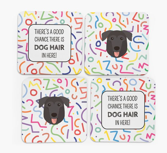 'Chance of Dog Hair' Coasters with German Sheprador icon