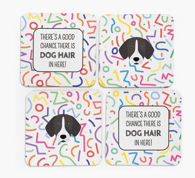 'Chance of Dog Hair' Coasters with German Shorthaired Pointer icon