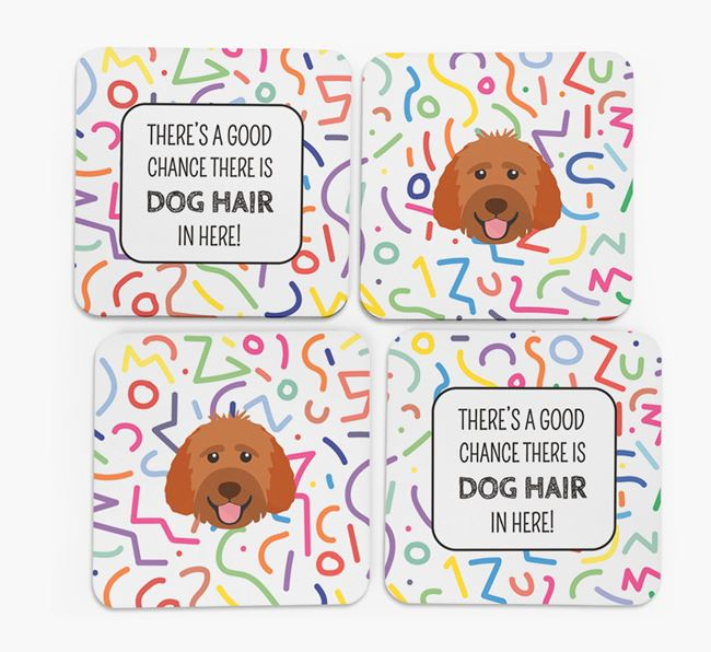'Chance of Dog Hair' Coasters with Goldendoodle icon