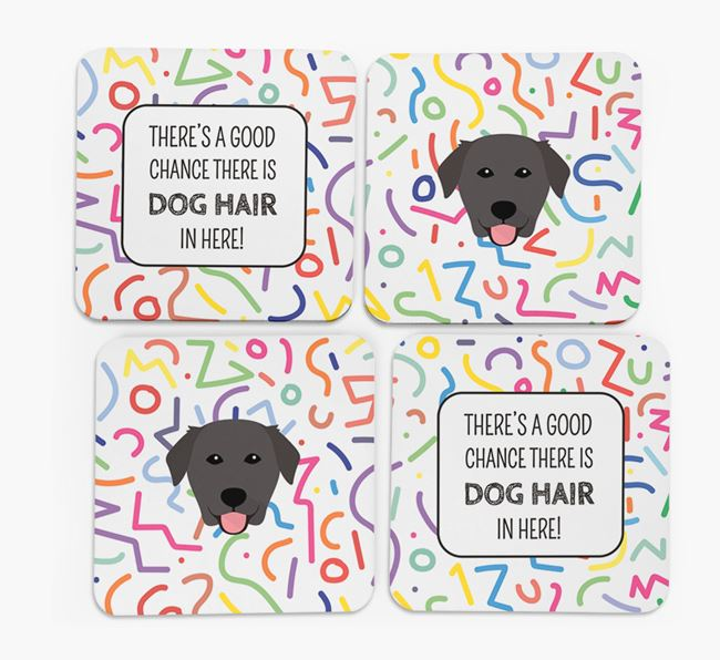 'Chance of Dog Hair' Coasters with Golden Labrador icon