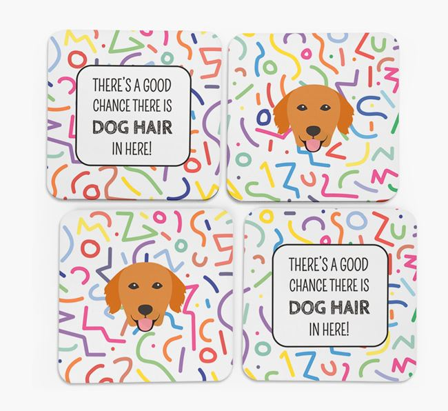 'Chance of Dog Hair' Coasters with Golden Retriever icon