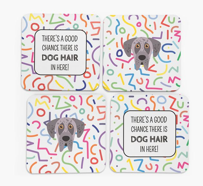 'Chance of Dog Hair' Coasters with Great Dane icon