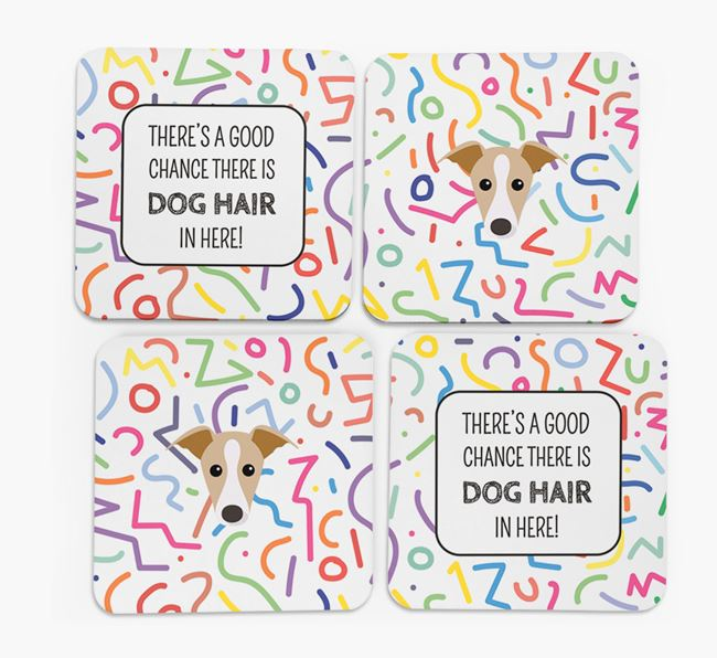 'Chance of Dog Hair' Coasters with Greyhound icon