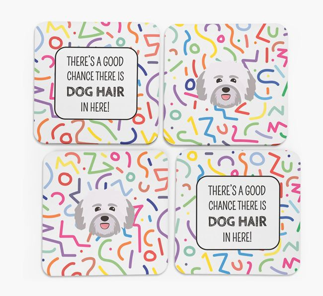 'Chance of Dog Hair' Coasters with Havanese icon