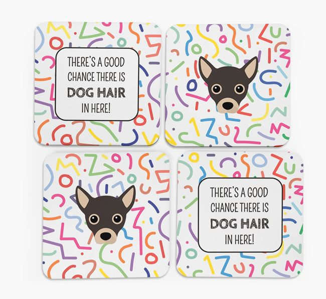 'Chance of Dog Hair' Coasters with Jackahuahua icon