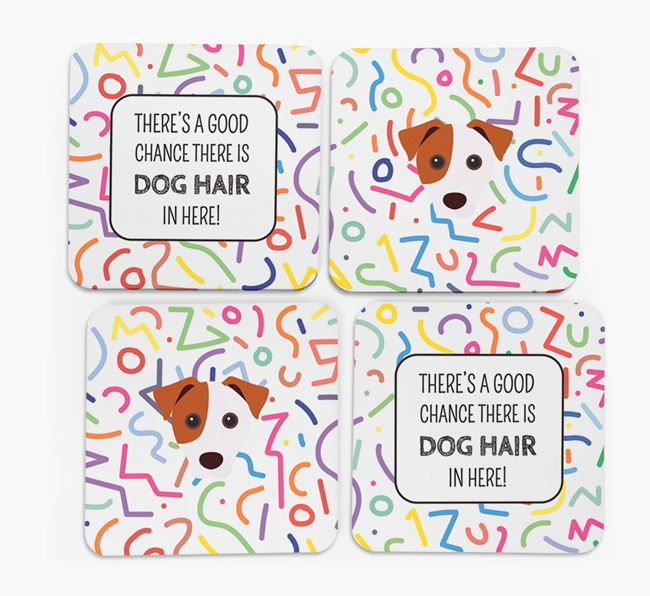 'Chance of Dog Hair' Coasters with Jack Russell Terrier icon