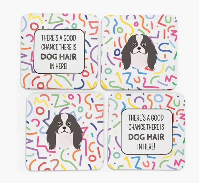 'Chance of Dog Hair' Coasters with Japanese Chin icon