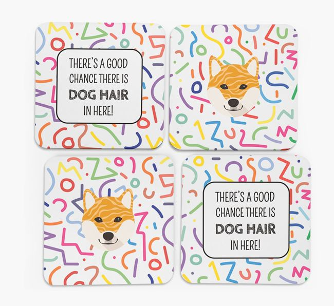 'Chance of Dog Hair' Coasters with Japanese Shiba icon