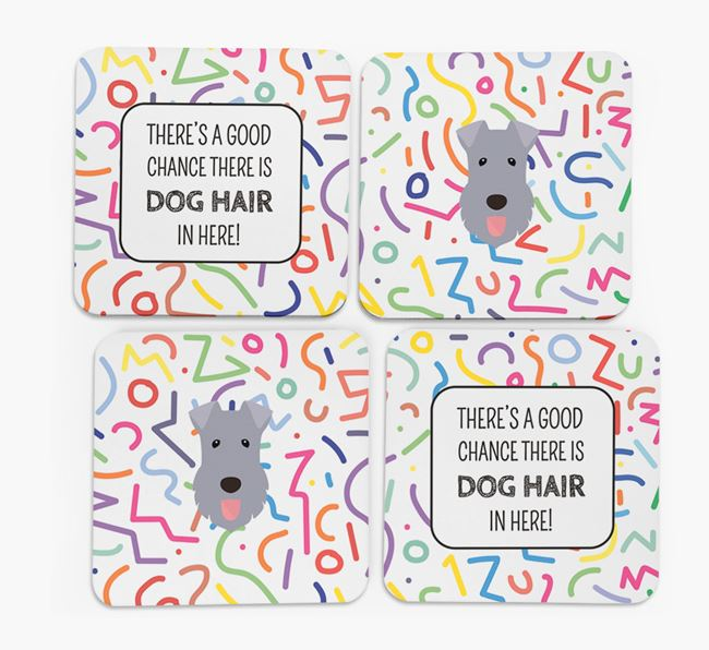 'Chance of Dog Hair' Coasters with Kerry Blue Terrier icon