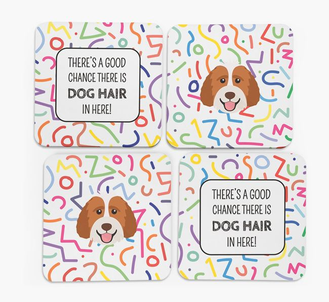 'Chance of Dog Hair' Coasters with Labradoodle icon