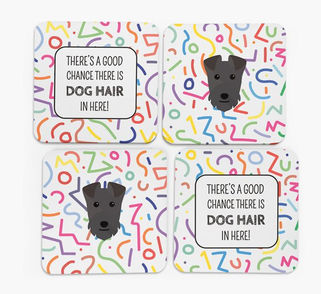 'Chance of Dog Hair' Coasters with Lakeland Terrier icon