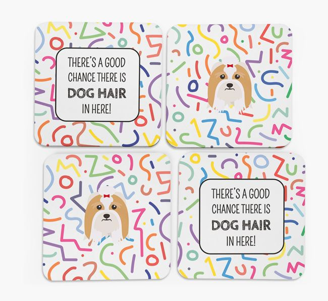 'Chance of Dog Hair' Coasters with Lhasa Apso icon