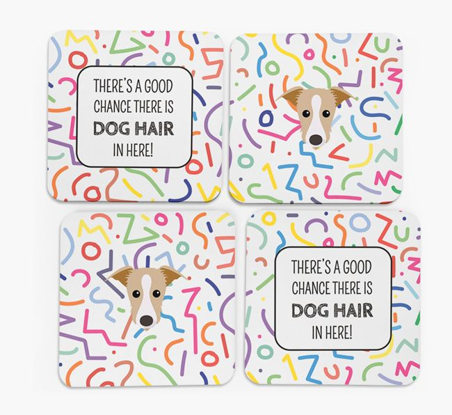 'Chance of Dog Hair' Coasters with Lurcher icon