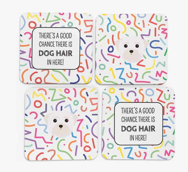 'Chance of Dog Hair' Coasters with Maltese icon